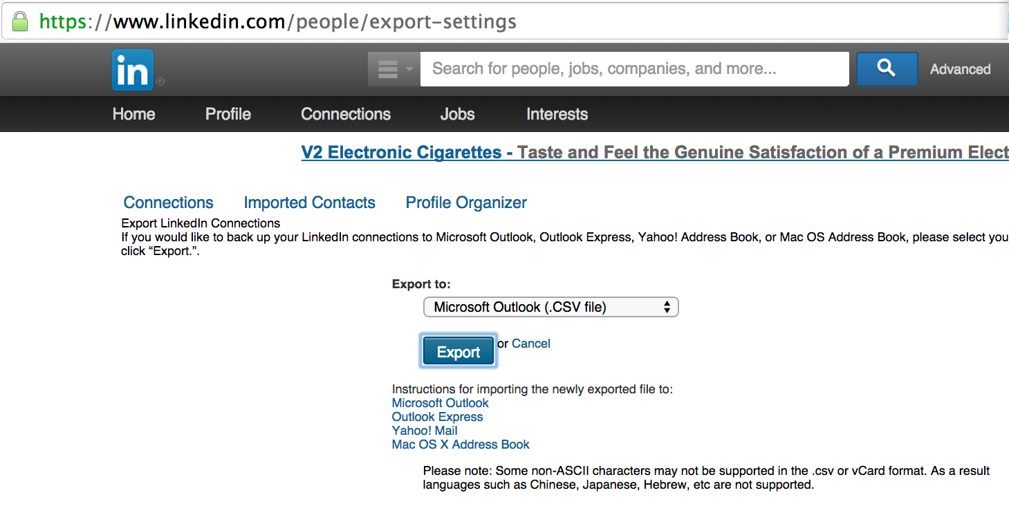 Export to CSV Linkedin