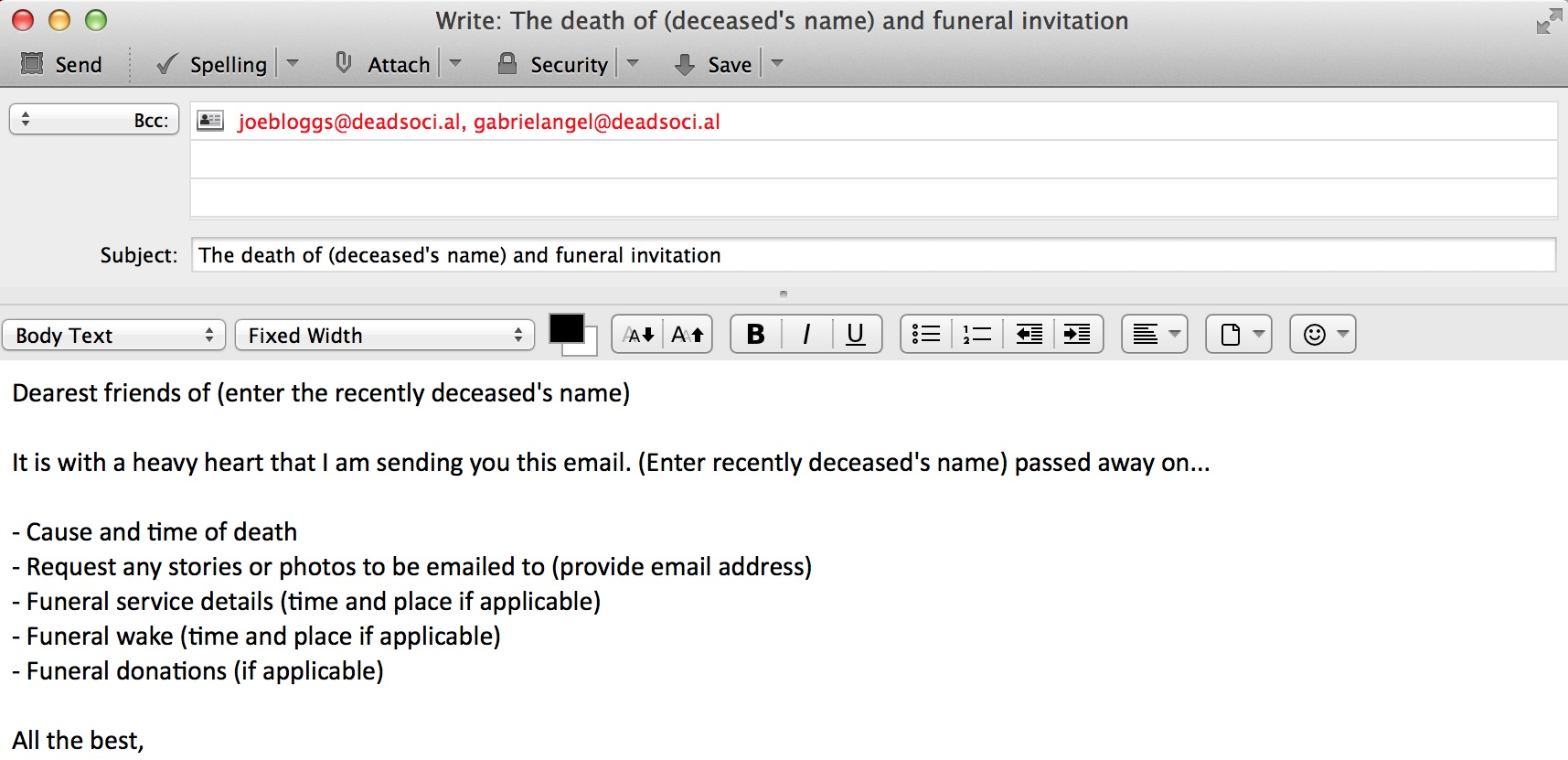 Funeral invitation via email template