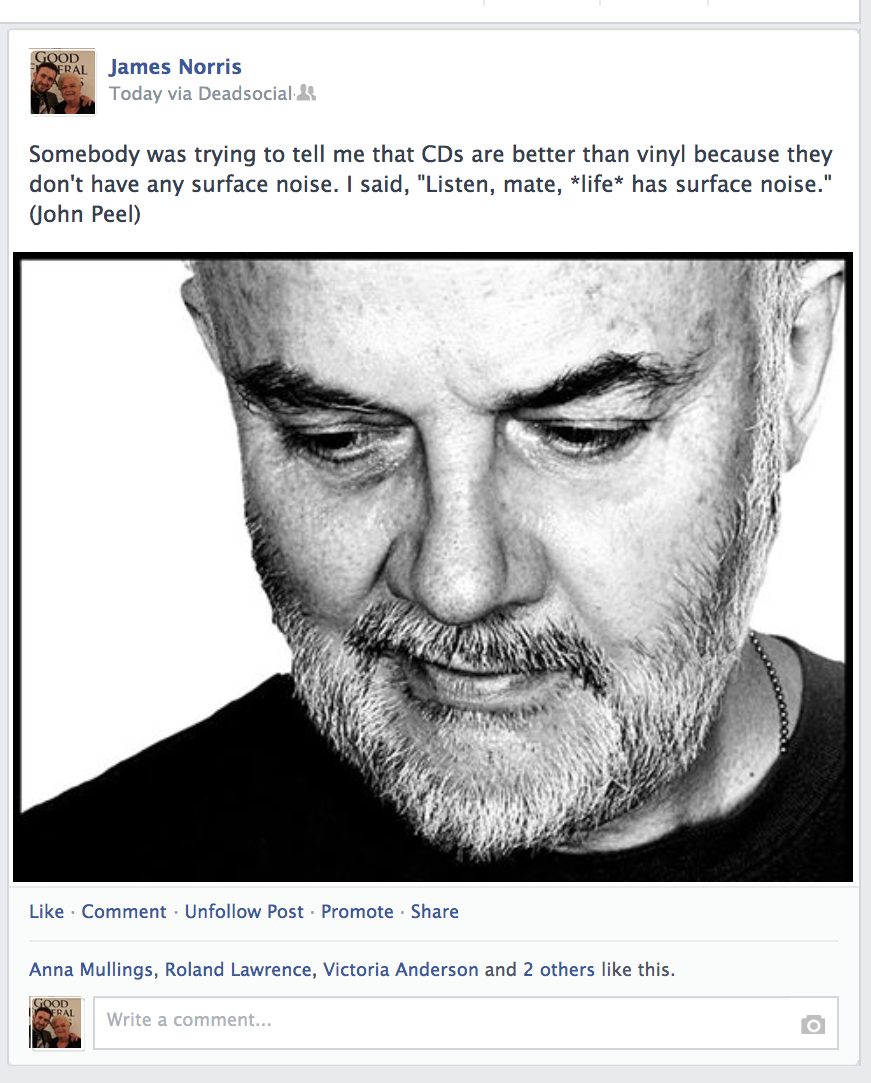 John Peel post to Facbeook wall deadsocial