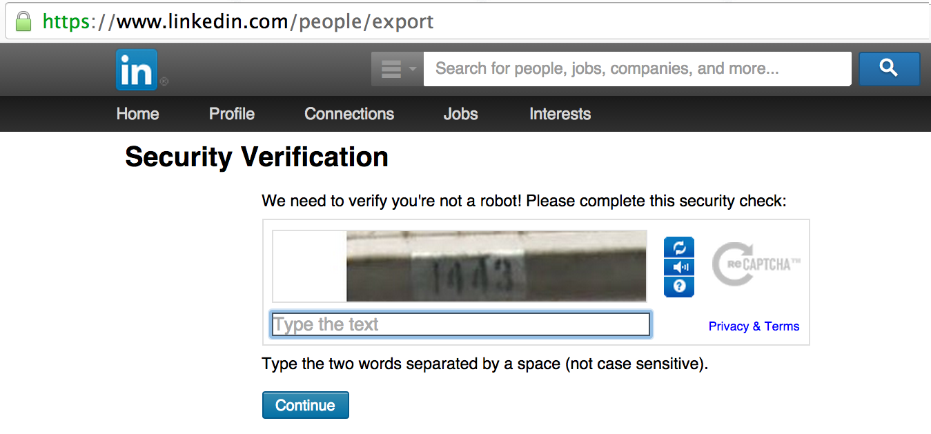 Security code linkedin